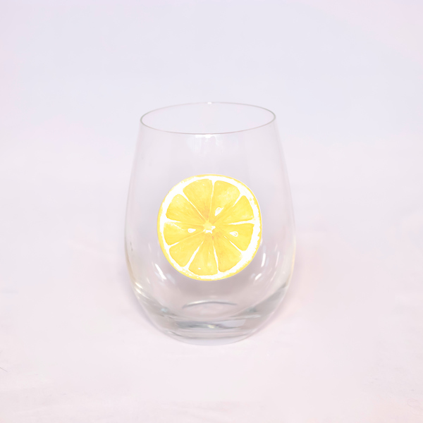 Stemless Lemon Slice Wine Glass