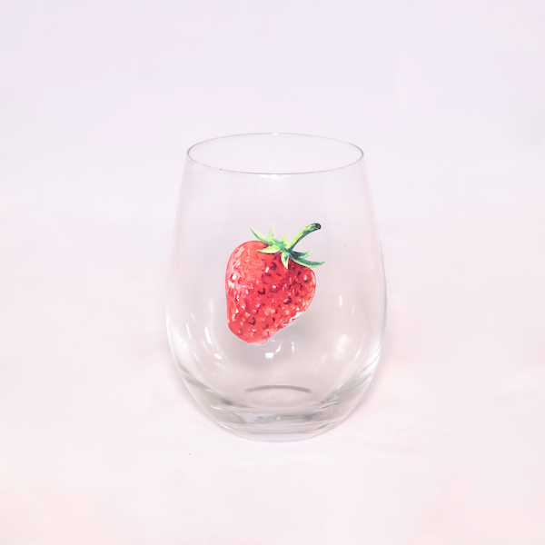 Stemless Strawberry Slice Wine Glass