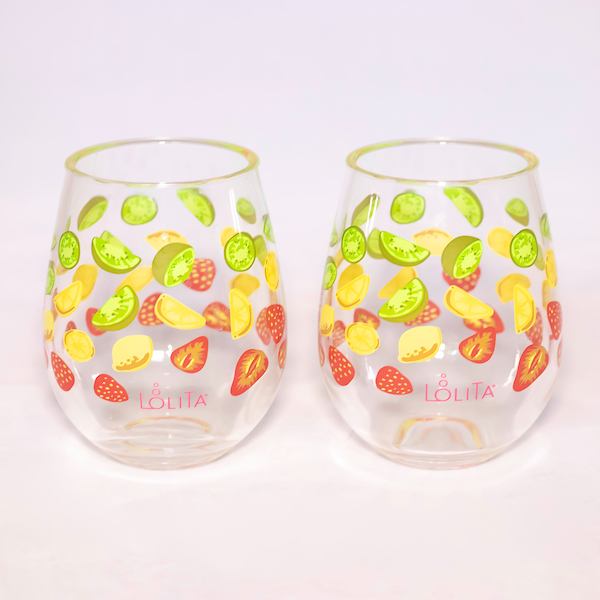 Tutti Fruity Stemless Wine Glasses