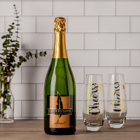 Almond Sparkling and Cheers Flute Gift Set