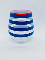 Stemless Acrylic Wine Glass: Stipes