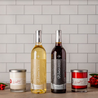 Winter Red & Winter White Wine with Candles Gift Set