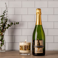 Blanc de Blanc with Cheers Candle Set